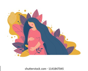 Cute pregnant woman. Vector illustration of woman waiting for a baby. Happy mom expecting baby. Pregnancy.