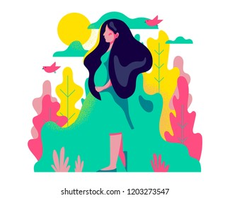 Cute pregnant woman walking. Vector illustration of woman waiting for a baby. Happy mom expecting baby. Pregnancy.