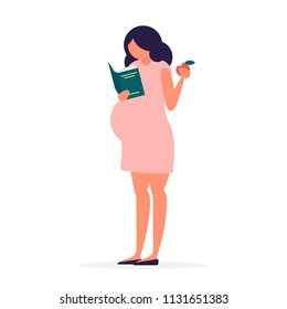 Cute pregnant young woman is reading a book and eating an apple. Motherhood, waiting for a child concept. Expectant mother character. Full length illustration in trendy simple and clear flat style