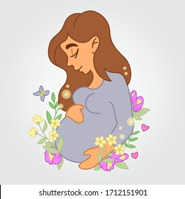 Cute Pregnant young woman surrounded with flowers, leaves, butterfly, sparks. Maternity, family, childbearing, childbirth, fertility, pregnancy. Vector isolated graphic design elements, illlustration