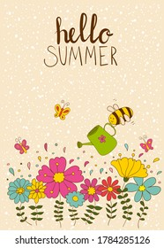 Cute pre-made posters.Summer flowers, butterfly and funny bee.Ideal for children interiors!Can be used for greeting cards, invitations, banners, web sites, blogs, flyers, booklets,certificates,sticker