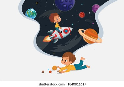 Cute preschool boy sit on the floor and play with the toy planets and imagine himself trevel on the rocket. Space, rockers stars, galaxy, and planets in the background. Kids Imagination and
