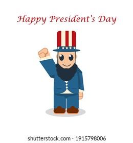 Cute President's Day Cartoon, flat design Abraham Lincoln with blue red white hat color