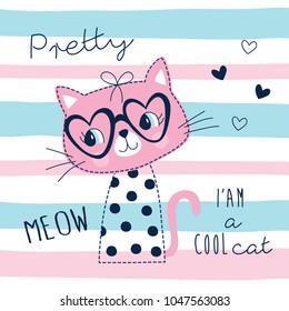 cute pretty cat animal vector illustration