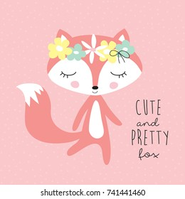 cute and pretty fox with floral wreath vector illustration