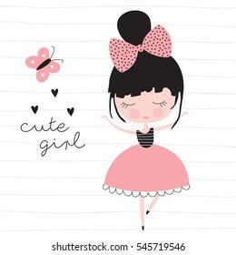 cute pretty girl vector illustration