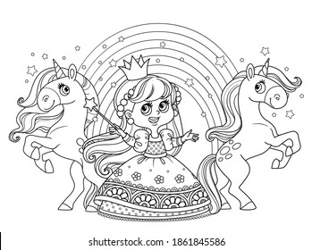 Cute princess in ball dress with unicorns and rainbow outlined  for coloring book