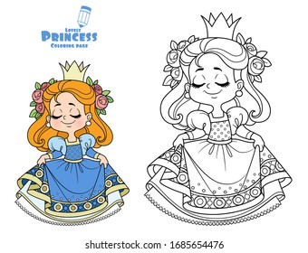 Cute princess in blue dress curtsy outlined and color for coloring book