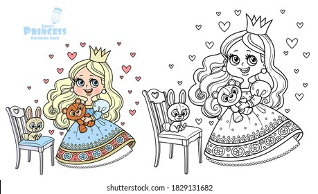 Cute princess in blue dress holding teddy bear and with plush bunny on a chair outlined and colored for coloring book