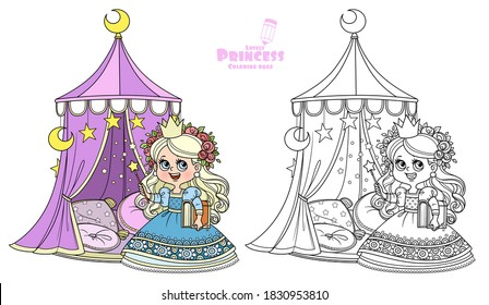 Cute princess with a book in his hands near the tent with pillows outlined and color for coloring book