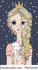 cute princess with cat