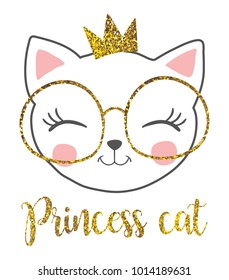 cute princess cat with a glitter crown.