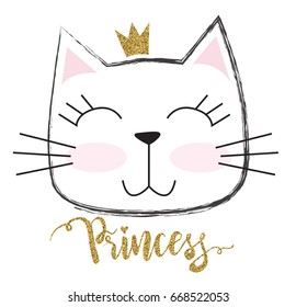 cute princess cat with a glitter crown. For print, baby clothes, t shirt, child or wrapping  paper. Creative girlish original design