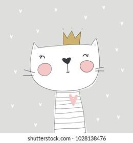 Cute princess cat vector print. Meow