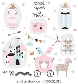 Cute princess doodle collection. Vector hand drawn illustration.