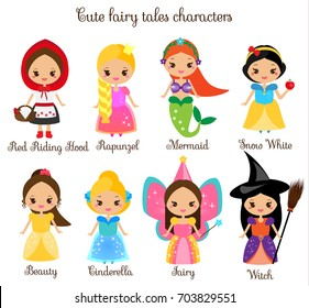 Cute princess. Cute fairy tales characters. Snow white, red riding hood, rapunzel, cinderella. Kawaii Cartoon style. Children stickers , kids illustration, toddlers fashion prints