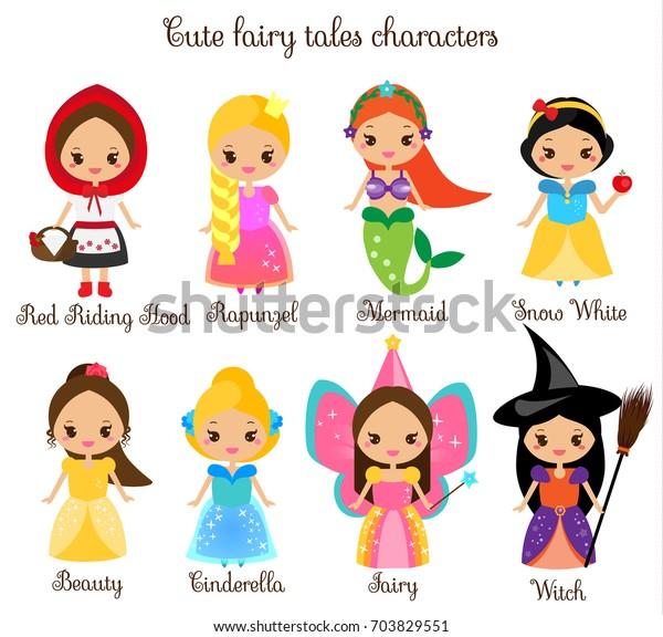 かわいいお姫様 かわいいおとぎ話のキャラクター 白雪姫 赤乗りフード ラプンツェル シンデレラ かわいい漫画 子ども用ステッカー 子ども用イラスト 幼児用ファッションプリント のベクター画像素材 ロイヤリティフリー