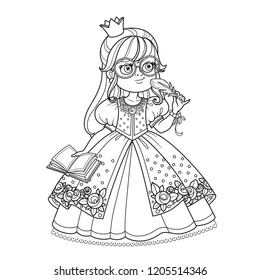 Cute princess in glasses with a pen and diary for records outlined picture for coloring book on white background