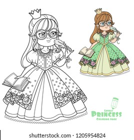 Cute princess in glasses with a pen and diary for records color and outlined picture for coloring book on white background