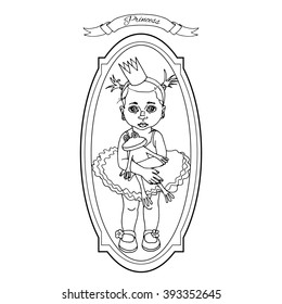 Cute princess hand drawn illustration