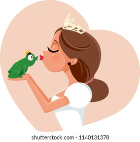 Cute Princess Kissing Prince Frog Illustration. Fairy tale portrait of adorable queen with her king