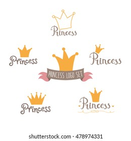 Cute Princess logo set in vector in bright colors.