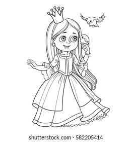 Cute princess with long hair holds on finger little bird outlined picture for coloring book on white background