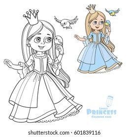 Cute princess with long hair holds on finger little bird color and outlined picture for coloring book on white background