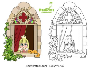 Cute princess looks out of a castle window covered with ivy outlined and color for coloring book