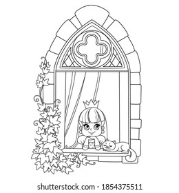 Cute princess looks out of a castle window covered with ivy outlined for coloring book
