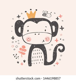 Cute Princess monkey. hand drawn vector illustration