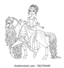 Cute princess on horse with a long mane outlined isolated on a white background