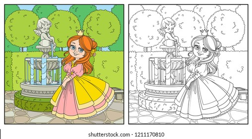 Cute princess in palace park with Cupid fountain color and outlined for coloring
