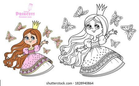 Cute princess in pink dress surrounded by fluttering butterflies outlined and color for coloring book