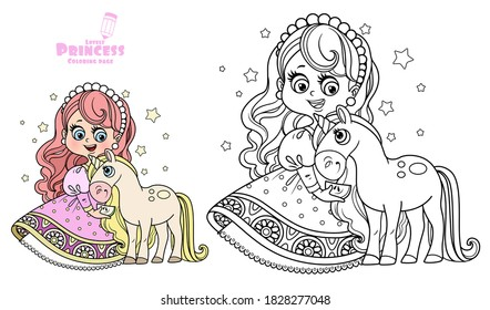 Cute princess in pink dress with unicorn baby outlined and color for coloring book