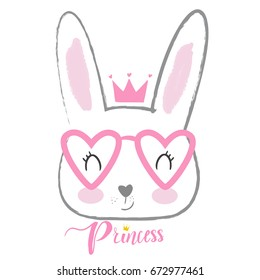 cute princess rabbit with a pink crown. For print, baby clothes, t shirt, child or wrapping  paper. Creative girlish original design
