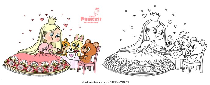Cute princess in red dress feeding the teddy bear cake outlined and color for coloring book