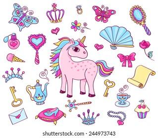 Cute princess set with unicorn. Vector cartoon children illustration. Isolated on white.