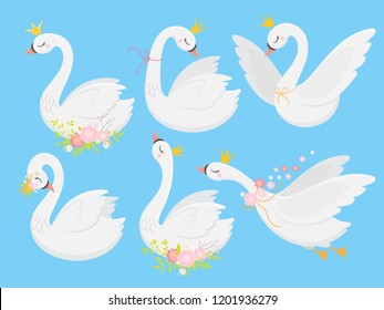 Cute princess swan. Beautiful white swans in gold crown, cartoon goose bird fairytale creature and graceful duckling pastel elegance vector isolated illustration icons set