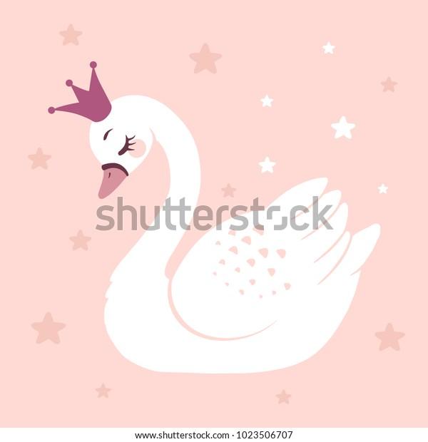 Симпатичные принцесса лебедь на розовом фоне мультфильм ручной рисунок векторной иллюстрации. Может быть использован для печати футболку, дети носят дизайн одежды, пригласительный билет для душа.