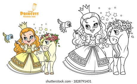 Cute princess in yellow dress with cure unicorn outlined and color for coloring book