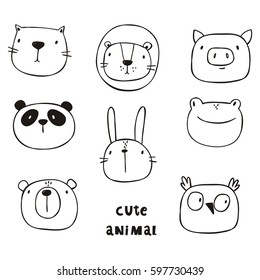 Cute print with cat, lion, bear, pig, frog, panda, hare, owl. Hand drawn print.