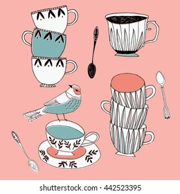 Cute Print Design with Cups and Bird