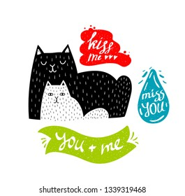 Cute print with doodle animals and colorful banners with message. Vector illustration of mother cat and baby kitten in modern scandinavian style. Best for art posters in children rooms.