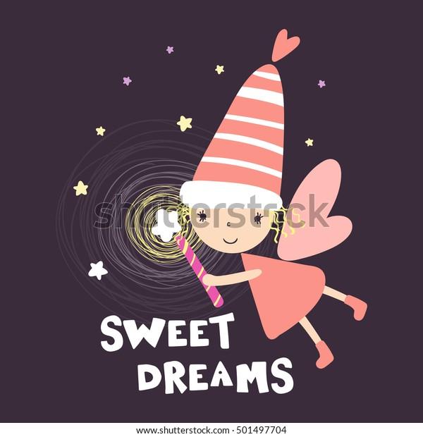 Cute Print Little Fairy Inscription Sweet Stock Vector (Royalty Free