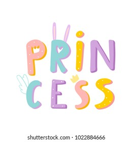 cute print princess with bright funny letters