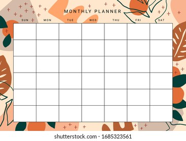 Cute printable Monthly Planner with plants, fruits and abstract design elements. Vector