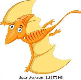 Cute Pterodactyl cartoon flying