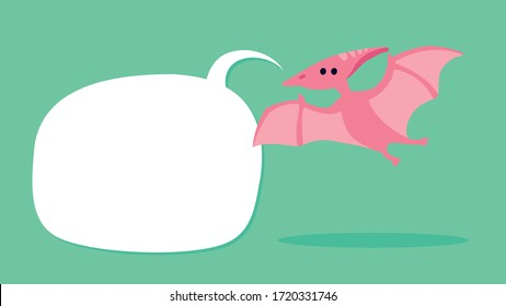 Cute pterodactyl dinosaur with speech bubble to place your copy