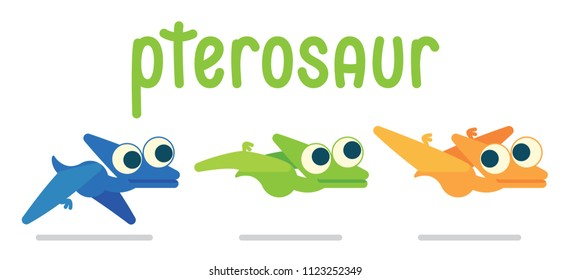 Cute Pterosaur flying. Dinosaur life. Vector illustration of prehistoric character in flat cartoon style isolated on white background. Funny Pterodactylus with big eyes. Variants of coloring and pose.